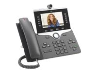 Cisco IP Phone 8865 - IP-videotelefon - med digital kamera, Bluetooth interface - IEEE 802.11a/b/g/n/ac (Wi-Fi) - SIP, SDP - 5 rader - träkol CP-8865-K9=